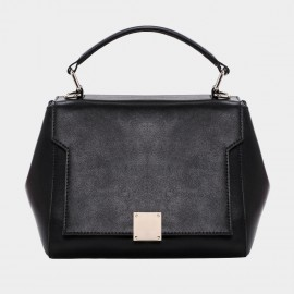 Cannci Hexagonal Leather Black Top Handle Bag (B21411)