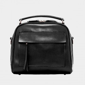 Cannci Trapezoidal Leather Black Top Handle Bag (B21433)
