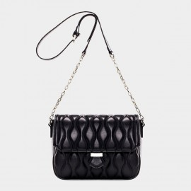 Cannci Wavy-Quilted Leather Black Shoulder Bag (B21435)