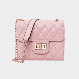 Cannci Twist Lock Leather Pink Shoulder Bag (B21464)