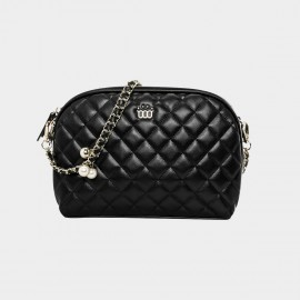 Cannci Pearl Accent Leather Black Shoulder Bag (B21466)