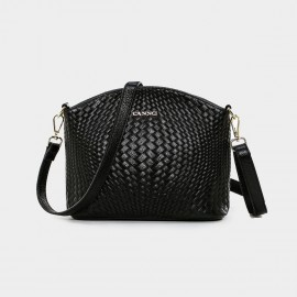 Cannci Anomalous Basket Weave Pattern Leather Black Shoulder Bag (D11484)