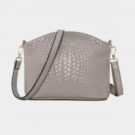 Cannci Anomalous Basket Weave Pattern Leather Grey Shoulder Bag (D11484)