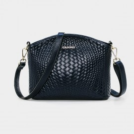 Cannci Anomalous Basket Weave Pattern Leather Navy Shoulder Bag (D11484)