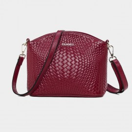 Cannci Anomalous Basket Weave Pattern Leather Wine Shoulder Bag (D11484)