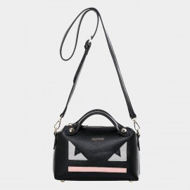 Cannci Geometric Pattern Leather Black Shoulder Bag (H11476)