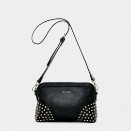 Cannci Studded Base Leather Black Shoulder Bag (H11495)