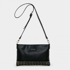 Cannci Leather Flat Black Shoulder Bag (H11496)