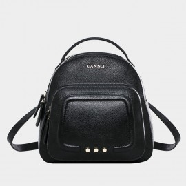 Cannci Double Compartment Leather Mini Black Backpack (H11497)