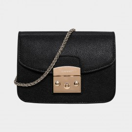 Cannci Push Lock Leather Black Shoulder Bag (H21462)