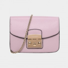 Cannci Push Lock Leather Pink Shoulder Bag (H21462)