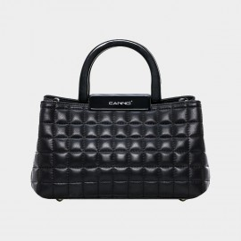Cannci Square-Quilted Lambskin Black Top Handle Bag (H51498)