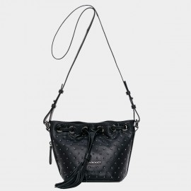 Cannci Round Stud Lambskin Black Shoulder Bag (H51506)