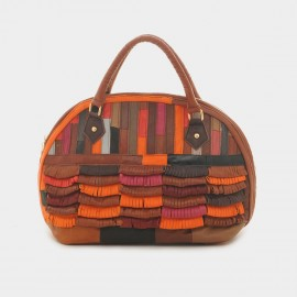 Chancebanda Layered Texture Leather Rainbow Top Handle Bag (L005)