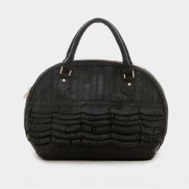 Chancebanda Layered Texture Leather Black Top Handle Bag (L005)