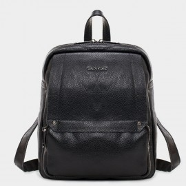 Cannci Multi-Zip Leather Black Backpack (M11379)