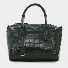 Cannci Crocodile Pattern Leather Green Top Handle Bag (M11401)