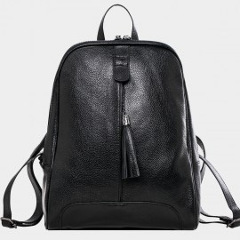 Cannci Fringe Accent Leather Black Backpack (M11459)