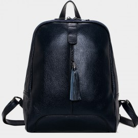 Cannci Fringe Accent Leather Navy Backpack (M11459)