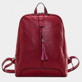 Cannci Fringe Accent Leather Red Backpack (M11459)