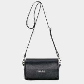 Cannci Flap Leather Black Shoulder Bag (M11499)
