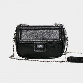 Cannci T-Flap Leather Black Shoulder Bag (O11465)