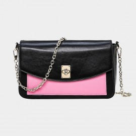 Cannci Twist Lock Leather Pink Shoulder Bag (O11489)