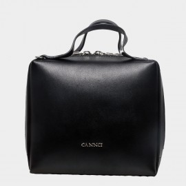 Cannci Square-Shaped Leather Black Top Handle Bag (O11513)
