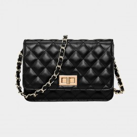 Cannci Diamond Quilted Gold Lock Leather Black Shoulder Bag (O21471)