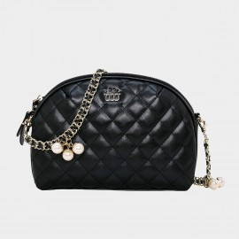 Cannci Pearl Accent Diamond Quilted Leather Black Shoulder Bag (O21472)
