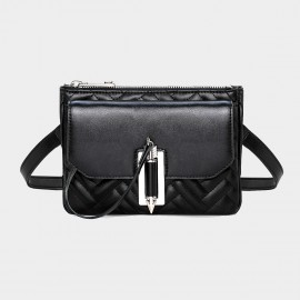 Cannci Arrow Lock Closure Leather Black Shoulder Bag (O21490)