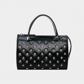 Cannci Star Embellished Leather Black Top Handle Bag (O21491)