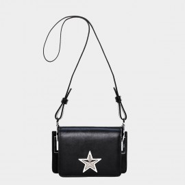 Cannci Big Star Leather Black Shoulder Bag (O21492)