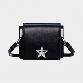 Cannci Big Star Double Compartment Leather Black Satchel (O21494)