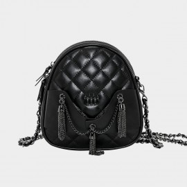 Cannci Chain Bunch Leather Black Shoulder Bag (O21511)