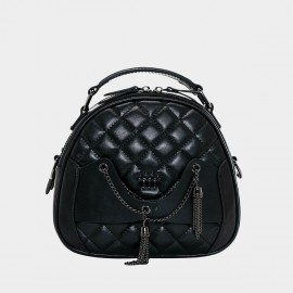 Cannci Chain Bunch Leather Black Top Handle Bag (O21512)