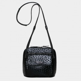 Cannci Concealed Stud Leather Black Shoulder Bag (O21514)