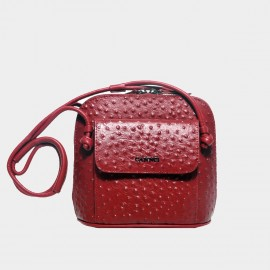 Cannci Concealed Stud Leather Red Shoulder Bag (O21514)