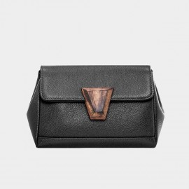 Cannci Wooden Accent Lock Leather Black Satchel (Y11481)