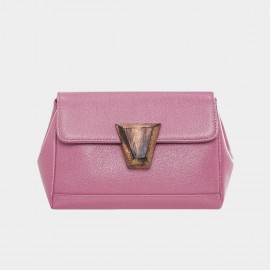 Cannci Wooden Accent Lock Leather Pink Satchel (Y11481)