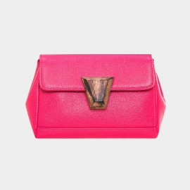 Cannci Wooden Accent Lock Leather Rose Satchel (Y11481)