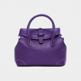 Cannci Strap Accent Leather Purple Top Handle Bag (Y11503)