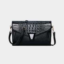 Cannci Envelope Crocodile Pattern Leather Black Shoulder Bag (Y11509)