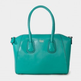 Chancebanda Shiny Texture Leather Lake Blue Top Handle Bag (Y21155)