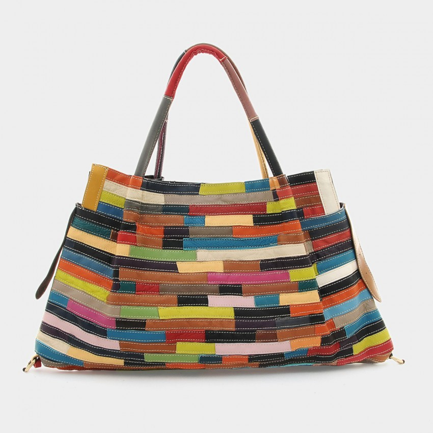 Chancebanda Urban Love Leather Rainbow Tote Bag (8803)