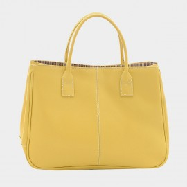Chancebanda Shiny Textured Yellow Top Handle Bag (002)