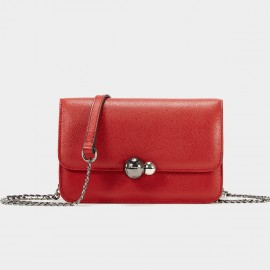 Cannci Twin Metallic Sphere Leather Red Shoulder Bag (H51539)
