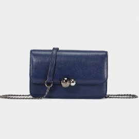 Cannci Twin Metallic Sphere Leather Navy Shoulder Bag (H51539)