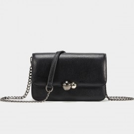 Cannci Twin Metallic Sphere Leather Black Shoulder Bag (H51539)