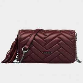 Cannci Rectangle Quilted Fringe Accent Lambskin Wine Shoulder Bag (H51496)